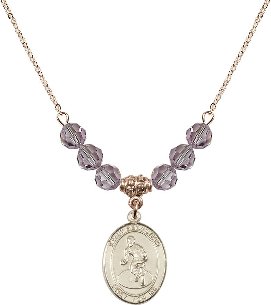 Gold Plated Necklace with 6mm Light Amethyst Birthstone Beads & Saint Sebastian/Wrestling Charm.
