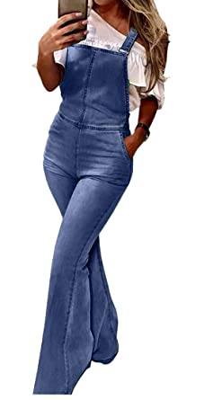 de794bb3c Amazon.com: heymoney Women's Bib Overall Ripped Denim Flare Jumpsuit ...