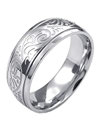 Konov Jewelry Mens Womens Stainless Steel Ring, Engraved Florentine Design Charm 8mm Band, Silver, with Gift Bag, C23584