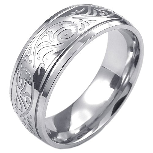 KONOV Mens Stainless Steel Ring, Engraved Florentine Design Charm 8mm Band, , Size 8
