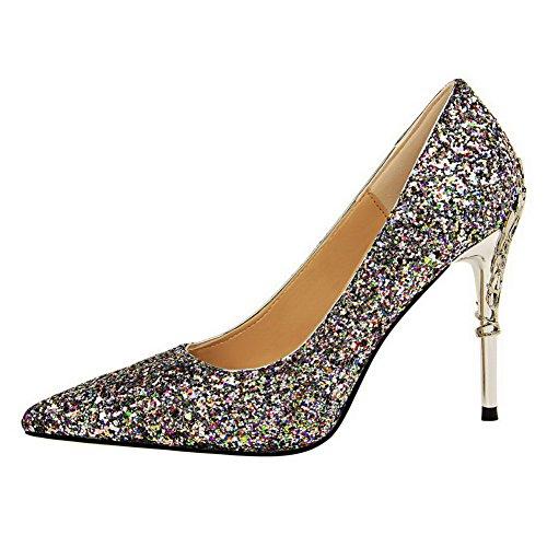 Allhqfashion Mujer's Pointed-toe Pull-on Sequins Solid Tacones Altos Pumps-Zapatos Multicolor