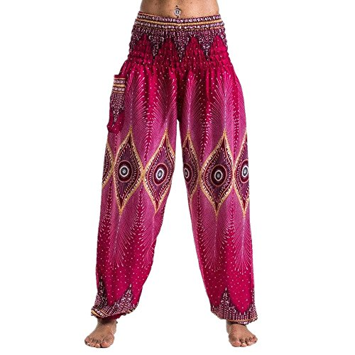 HHei_K Men Women Unisex Printing High Elastic Waist Yoga Pants Boho Festival Hippy Smock Thai Harem Loose Lantern Trousers (Free Size, 2# Hot Pink) ()