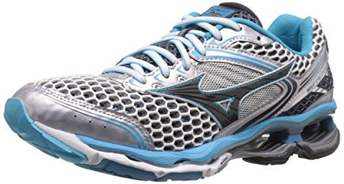 Mizuno Women's Wave Creation 17 Running Shoe, Silver/Blue Atoll/Dark Shadow,7 M US