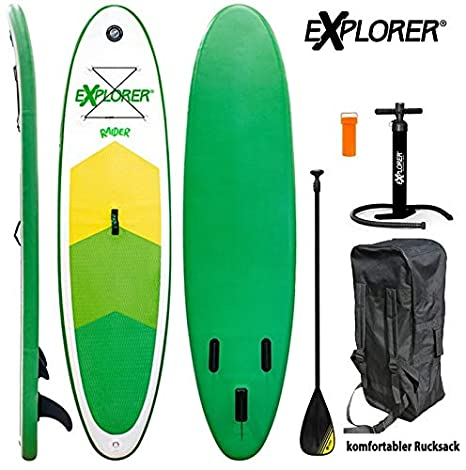 EXPLORER Sup Raider 300 x 75 x 10 cm Inflatable ISUP Hinchable de Aluminio Remo Stand Up Paddle Board Set Bomba Tabla de Surf Aqua Remo Set