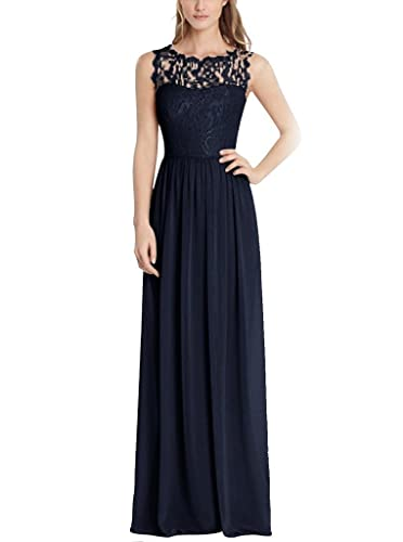 Firose Illusion Neck A-Line Long Chiffon Lace Formal Bridesmaid Dress