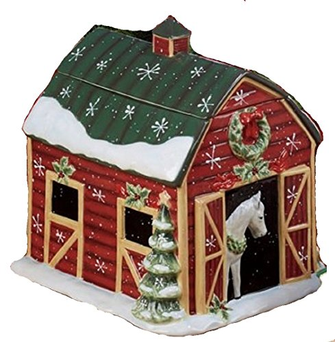 Horse Barn Heartland Holiday Christmas Cookie Jar<br>12 L x 10.5 W x 9.5 H Inches
