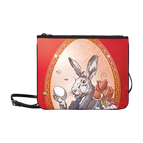 - Vintage Easter Postcard With Rabbit With Little C Pattern Custom High-grade Nylon Slim Clutch Bag Cross-body Bag Shoulder Bag