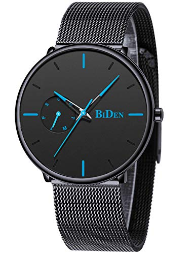 Mens Watches Minimalist Ultra Thin Waterproof Fashion Dressy Wrist Watch for Men Milanese Stainless Steel Mesh Band Day Calendar Business Dress Casual Luxury Quartz Analog Watch Black