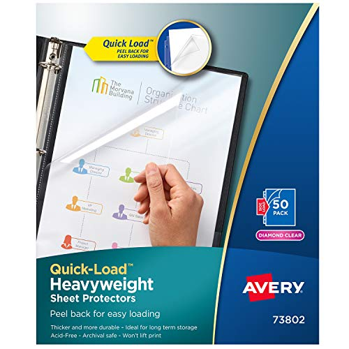 Avery 73802 Quick Top & Side Loading Sheet Protectors, Letter, Diamond Clear (Box of 50) ()