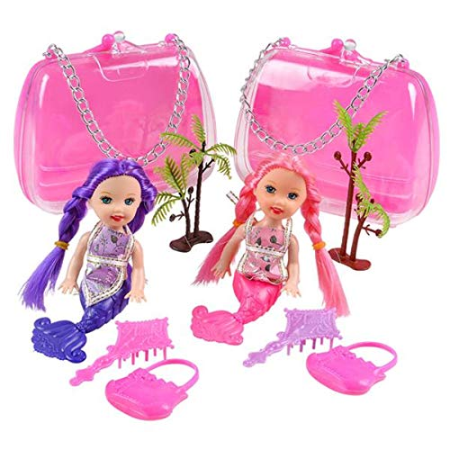 Forest & Twelfth Kids Mermaid Doll Play Set 2 Pack for Girls Flexible Sitting Doll with Palm Tree Groomer Brush Inside - Reusable Plastic Purse - 2 Dolls 1 Pink 1 Purple