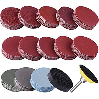 "SIQUK 130pcs 2 inch Sanding Discs Pad with 1pc 1/4"" Shank Backing Pad and 1pc Soft Foam Buffering Pad for Drill Grinder (10pcs Each Grit - 60 80 120 180 240 400 600 800 1000 1200 1500 2000 3000)"