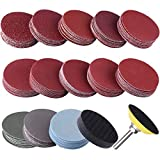 SIQUK 130pcs 2 inch Sanding Discs Pad with 1pc 1/4' Shank Backing Pad and 1pc Soft Foam Buffering Pad for Drill Grinder (10pcs Each Grit - 60 80 120 180 240 400 600 800 1000 1200 1500 2000 3000)