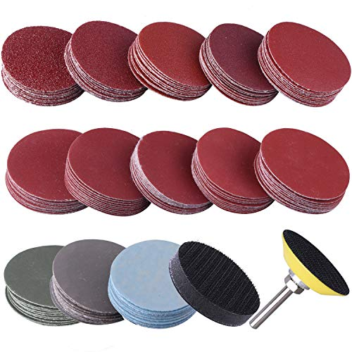 (SIQUK 130pcs 2 inch Sanding Discs Pad with 1pc 1/4