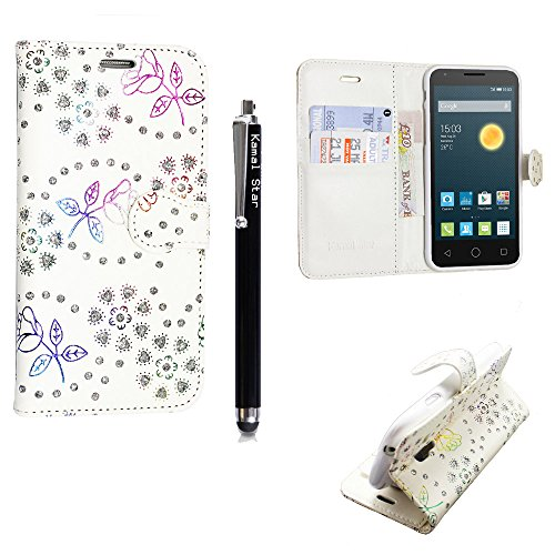 für Alcatel One touch Pop Star 5022D, Kamal Star® Kunstleder Tasche PU Schutzhülle Tasche Leder Brieftasche Hülle Case Cover + Gratis Universal Eingabestift (Rose White Diamond Book)