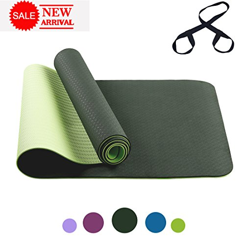 FARLAND Non Slip Yoga Mat with Carrying Strap – Eco Friendly TPE Workout Mat Exercise Mat,Anti-tear Hot Pilates Fitness Yoga Mat in Home & Gym (Black Green)