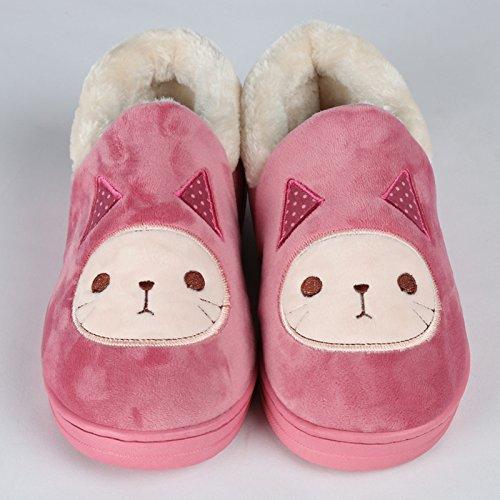 Y-Hui Super Soft Zapatillas casa piso caliente amantes zapatos zapatillas de algodón,44,Rosa roja