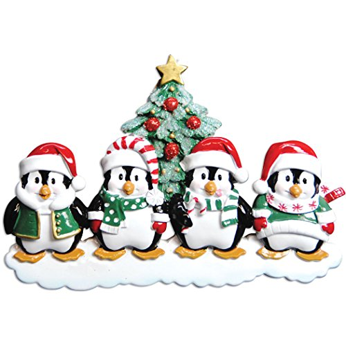 - Personalized Penguin Family of 4 Christmas Tree Ornament 2019 - Happy Cute Parent Sibling Children Friend Santa Hat Glitter Playful Snow Tradition Winter Gift Year - Free Customization (Four)