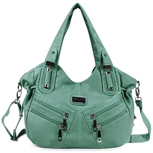 Scarleton Front Zippers Washed Shoulder Bag H147653 - Mint