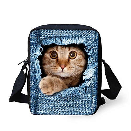 Shoulder Dog Denim Bag Cute HUGS IDEA Mini Cross Handbags cat4 denim Printed body Women Cat Small tX7Rqxw7