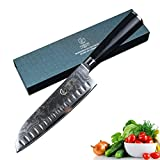 YARENH Damascus Santoku Knives 7 Inch with Japanese Damascus Steel and Wooden Handle Best Professional Kitchen Knives Slicing Knives Fillet Knife Suitable for Cut Meat Vegetable and Peeling Fruit