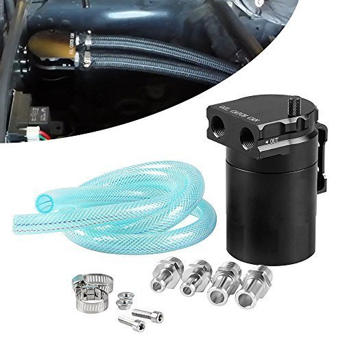 Ruien Polish Baffled Universal Aluminum Oil Catch Can Reservoir Tank Black