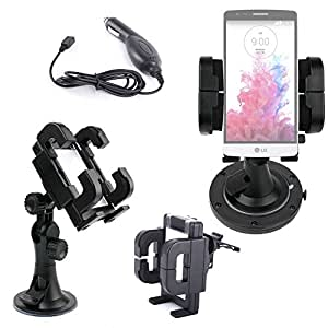 DURAGADGET Exclusive 3-in-1 In-Car Smartphone Kit with Windscreen Suction Mount, Adhesive Dashboard Pad and In-Car Charger for the LG G3 Beat / G3 Mini