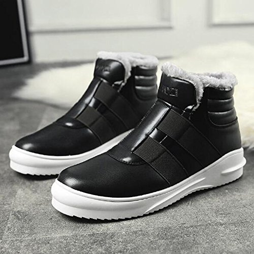 Men's Shoes Feifei Winter High Help Waterproof Keep Warm Cotton Shoes 3 Colors (Color : Black, Size : EU39/UK6/CN39)