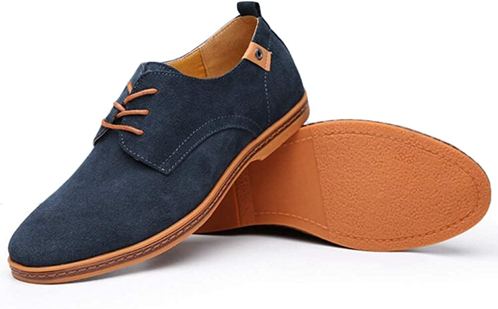 Men Casual Shoes Spring Flats Lace up Male Suede Oxfords Leather Shoes Blue