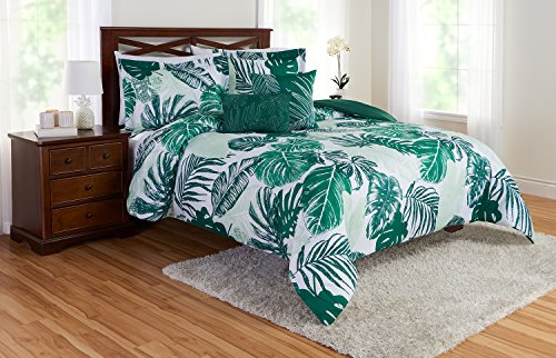 Super Soft,Fresh and Inviting Better Homes and Gardens Palm 5-Piece Comforter Set,Lush Palm Leaves in Shades of Emerald and Minty Green,Brings a Breath of Fresh Air to Any Bedroom,Full/Queen - Palm Leaf Shade
