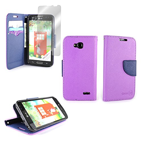 For LG Optimus L90 Phone by CoverON Magnetic Flip Cover Wallet Case (CarryAll Series) With Screen Protector - Purple + Navy (Lg L90 Phone Cover T Mobile)