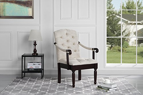 (Traditional Tufted Linen Fabric Upholstered Accent Dining Chair (Beige))
