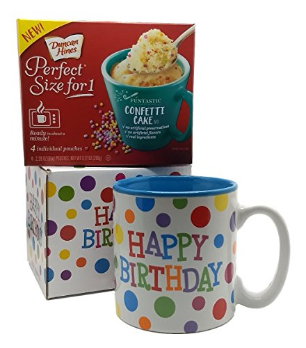 Happy Birthday Mug In Gift Box with 4 Mug Cake Mix Pouches Bundle Confetti