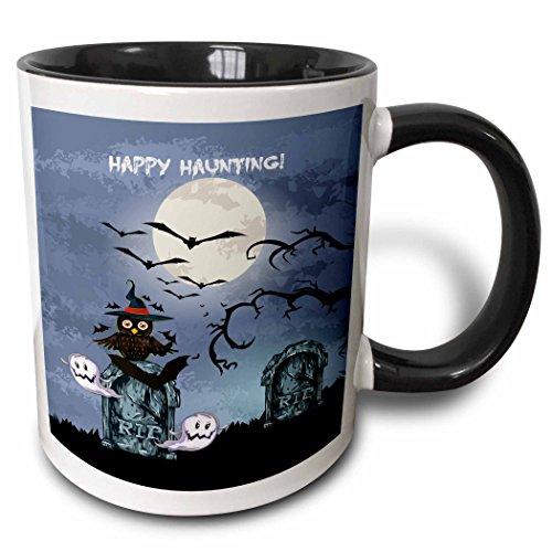 3dRose Dooni Designs Halloween Designs - Spooky Graveyard Cemetary Happy Haunting Halloween Scene With Full Moon Bats Ghosts Spooky Owl RIP - 15oz Two-Tone Black Mug (mug_129774_9)]()