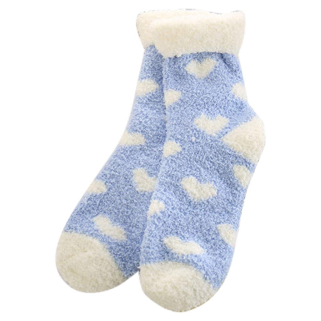 Fine Winter Ladies Warm Sleep Socks Towel Socks Floor Socks Balls Coral Fleece Socks (Sky Blue)