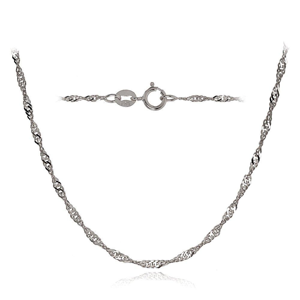 Bria Lou 14k White Gold 1.4mm Italian Singapore Chain Necklace, 20 Inches