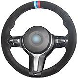 MEWANT Black Suede Blue Dark Blue Red Marker Steering Wheel Covers for BMW F87 M2 2015-2017 F80 M3 F82 M4 2 M5 2014-2017 F12 F13 M6 F85 X5 M F86 X6 M F33 2013-2017 F30 M Sport 2013-2017