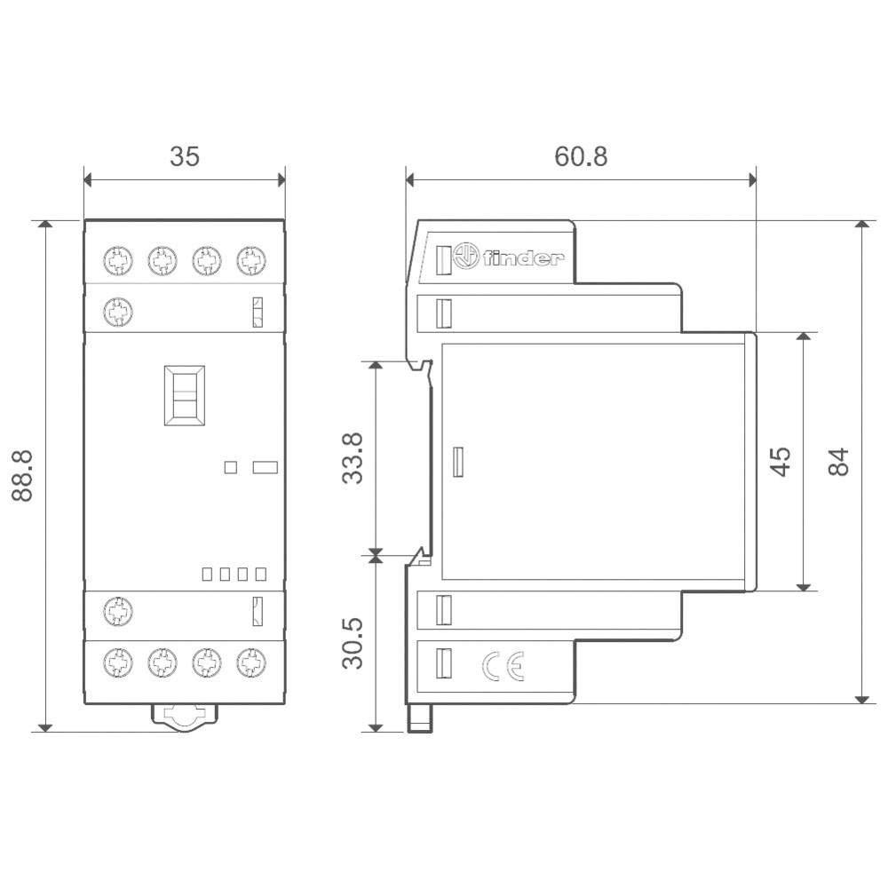 Finder Serie 22/ /Sch/ütz Modular 12/VAC//DC 4/NO 25/A