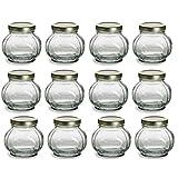 Nakpunar 12 pcs, 8 oz Round Glass Jars for Jam, Honey, Wedding Favors, Shower Favors, Baby Foods, Canning, spices