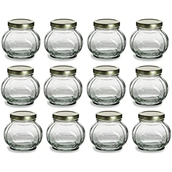 Nakpunar 12 pcs, 8 oz Round Glass Jars for Jam, Honey, Wedding Favors, Shower Favors, Baby Foods, Canning, spices