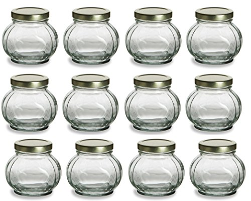 Nakpunar 12 pcs, 8 oz Round Glass Jars for Jam, Honey,