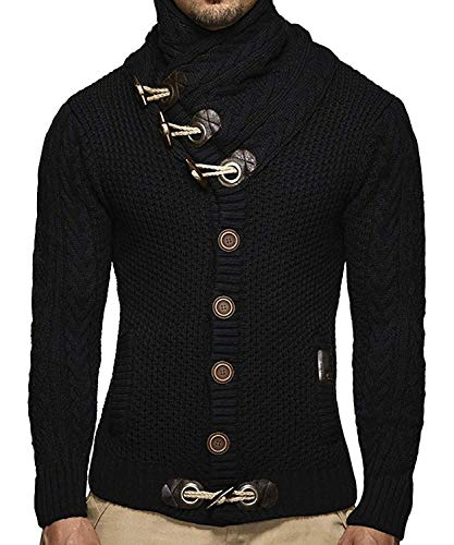 Taoliyuan Mens Turtleneck Slim Fit Cardigans Sweaters Cable Knit Thermal Fashion Autumn and Winter Sweater