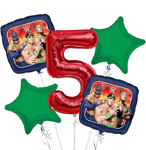 WWE Balloon Bouquet 5th Birthday 5 pcs - Party Supplies by Viva Party