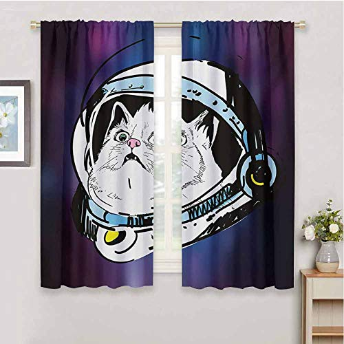 zojihouse Outer Space Kitten in Astronaut Hat Looks at Cosmic Rays UFO Universe Celestial Theme Customized Curtains Purple White Blackout Draperies for Bedroom W55xL63 (Cafe At The End Of The Universe)