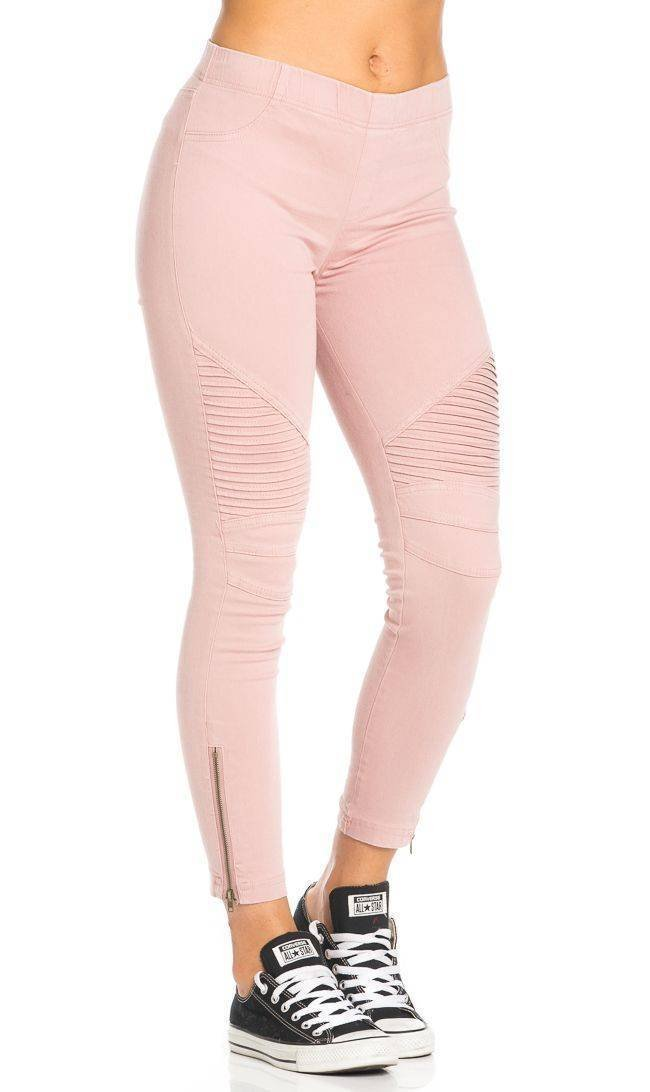 Ribbed Biker Ankle Zipped Jeggings in Dust Pink SOHO GLAM Sohogirl.com ABIKEJEGPINK