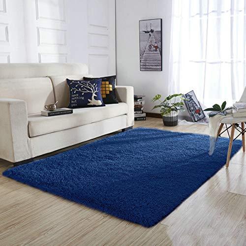 YOH Super Soft Area Rugs Silky Smooth Bedroom Mats for Living Room Kids Room Home Decor Carpets (4 X 5.3 Feet, Indigo) (Indigo Carpet)