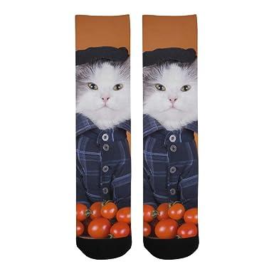 Calcetines bajos hombre Gato divertido con tomate Equipo fútbol ...