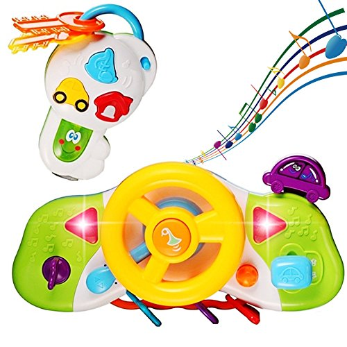 KAWO Kids Steering Wheel Driving with Music Sound Effect and Flasing Light Educational Toy