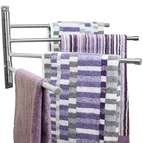 "Swing Out Towel Bar - Stainless Steel  Swivel Towel Rack - Space Saving Swinging Towel Bar for Bathroom - Wall Mounted Towel Holder Organizer with 4 Arms- Easy To Install - Brushed Finish (20""X10"")"