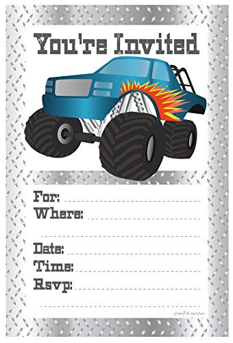 Monster Truck Birthday Party Invitations - Fill In Style (20 Count) With Envelopes by m&h invites
