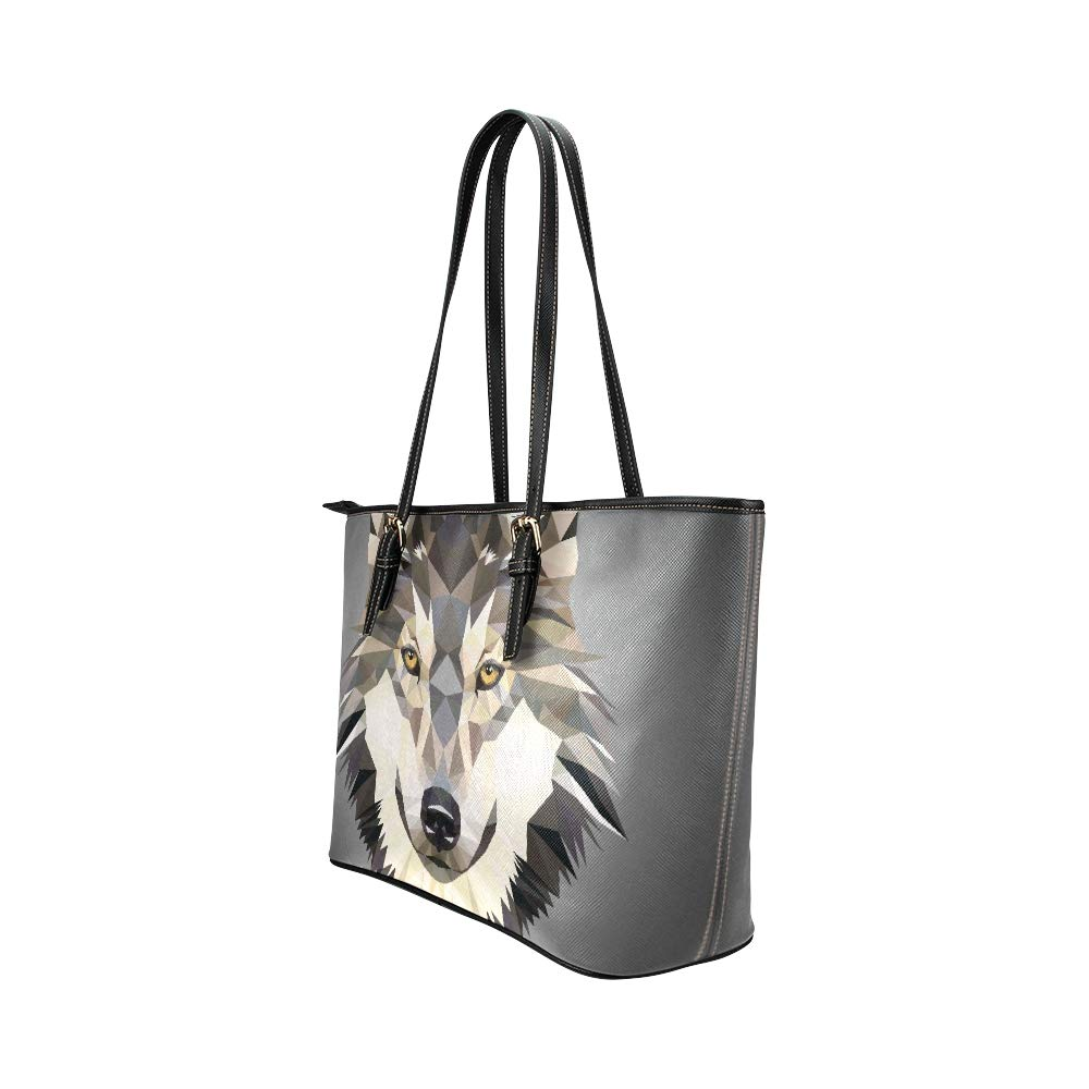 Howling Wolf Head Illustrations Cartoon Large Soft Leather Portable Top Handle Hand Totes Bags Causal Handbags With Zipper Shoulder Shopping Purse Luggage Organizer For Lady Girls Womens Work